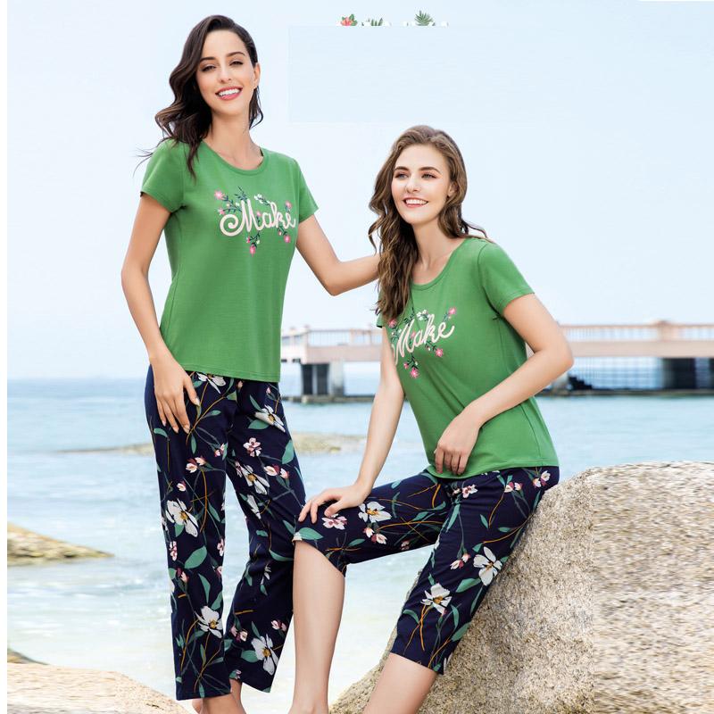 LUNILAI / Fu Nilai 2019 bộ đồ ngủ mặc nhà quần dài nữ mới cho mùa xuân và mùa hè F-A6070 F-A6070 - Cha mẹ và con