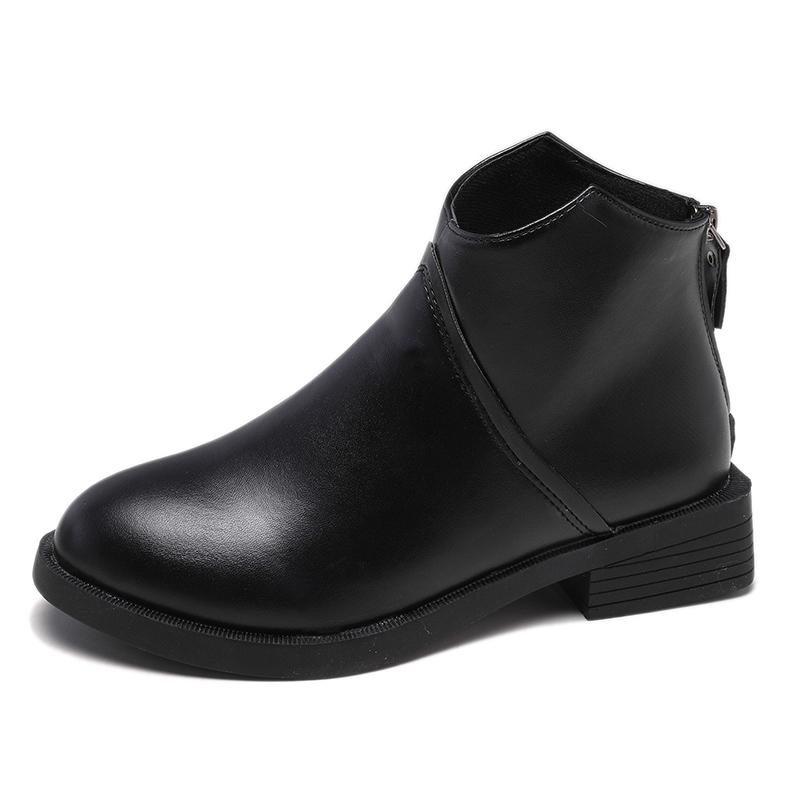 妮西蝶短靴女平底2019秋冬新款加绒女靴子裸靴单靴马丁靴女英伦风