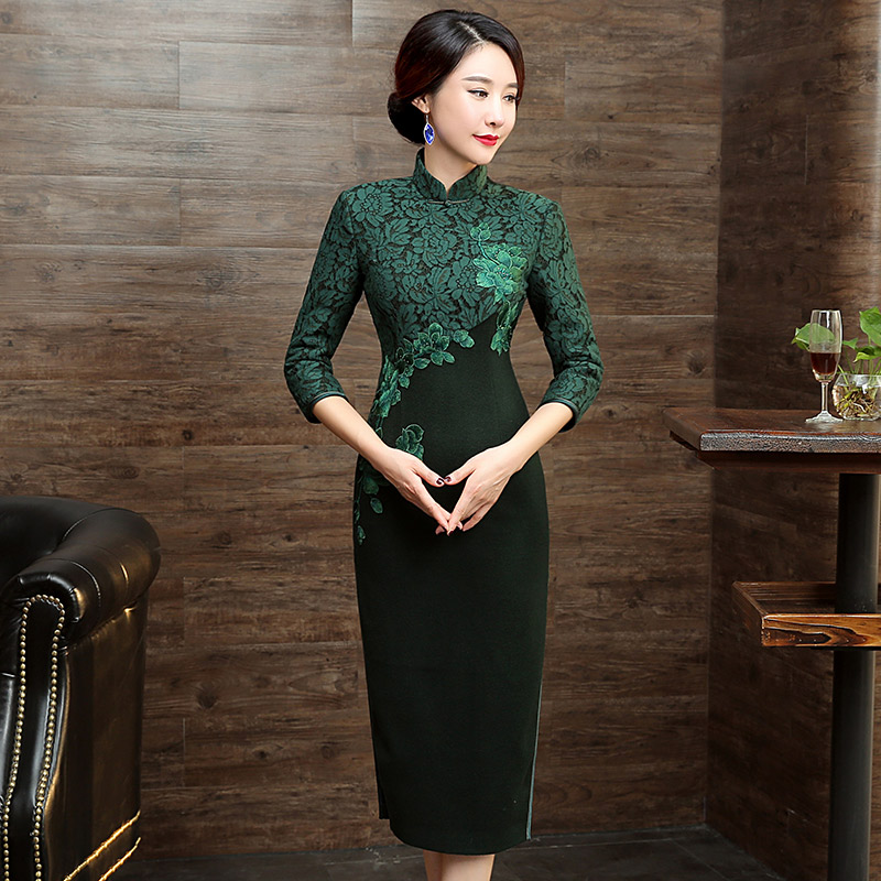 Dark Green Winter Dress