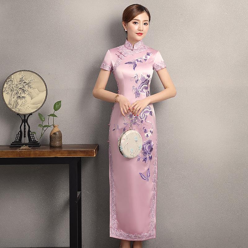玲瓏品智老上海重磅真絲繡花旗袍長款低領蕾絲花邊宴會裝女Q3253