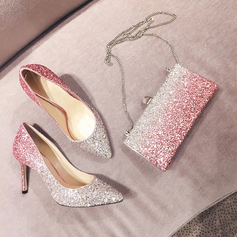 ... banquet shoes women  Share. Pink silver gradient sequins high heels  fine with pointed bridal shoes with single shoes wedding shoes f286f114a9c6