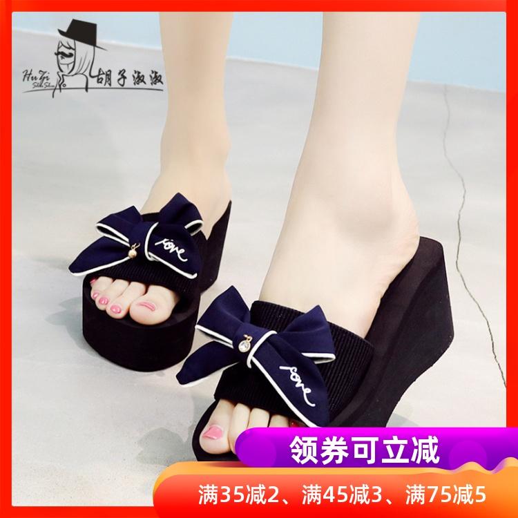 高跟女夏季厚底蝴蝶结一字拖韩版时尚拖鞋凉拖鞋坡跟外穿沙滩鞋潮