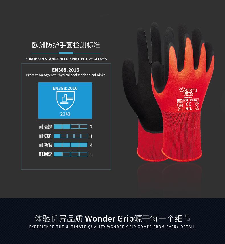 多给力WG310  劳保乳胶加强防滑工作手套 钓鱼园艺玻璃装配机械搬运图片四