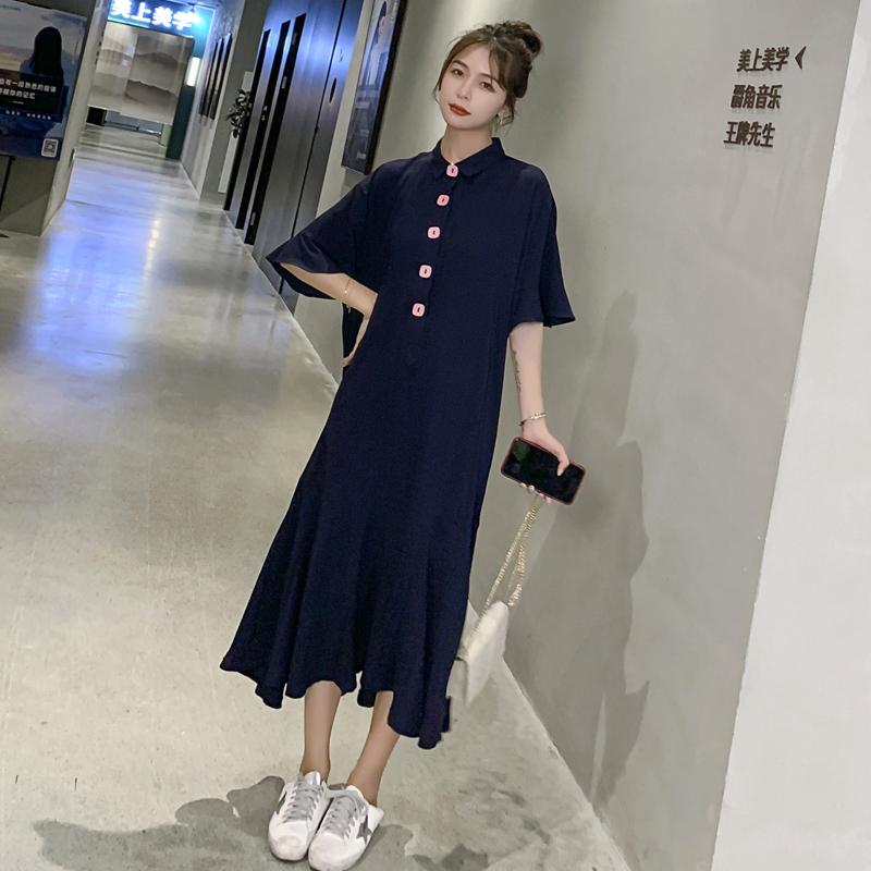 本千家2019夏新款韩版时尚收腰鱼尾连衣裙