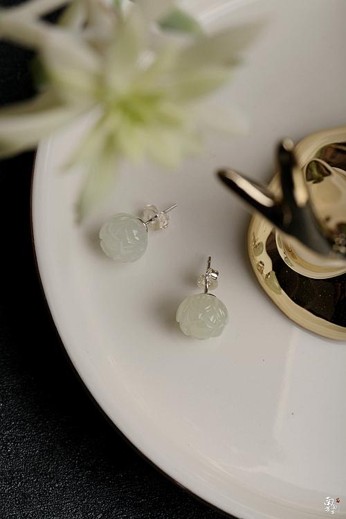 菩提雅尚飾品珍玩 南方南方純銀飾品手工和闐玉女民族風氣質上新了故宮耳環蓮花耳釘