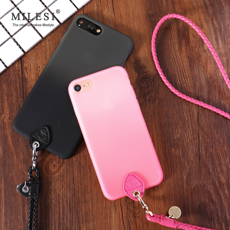 iphone7plus phone shell lanyard 5 5-inch Apple 7S 4 7-inch couple phone sets hanging neck silicone drop