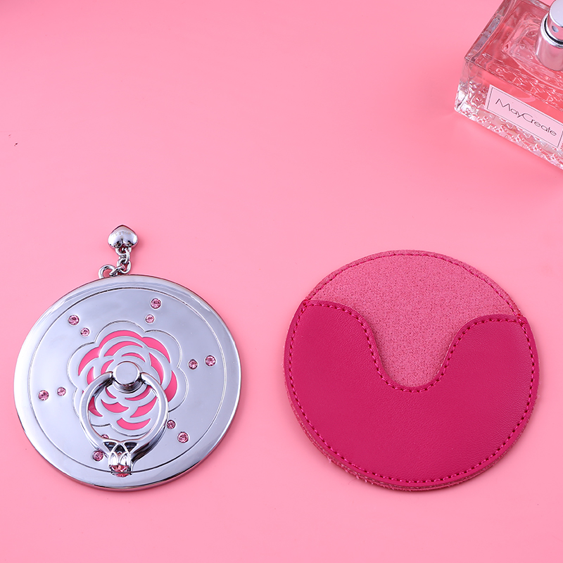 Millers ring carry Makeup Mirror Beauty small mirror will carry creative Korean cute flowers desktop bracket