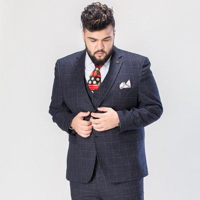Fat man suit kit men's groom wedding suit suit male with launches plus fertilizer XL lattice suit men's clothing