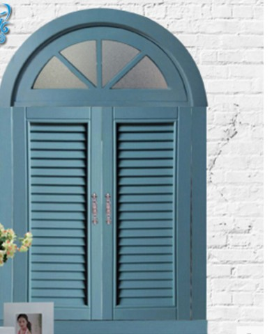 Nordic-style arched windows Mediterranean pastoral arc windows European-style solid wood shutters open windows