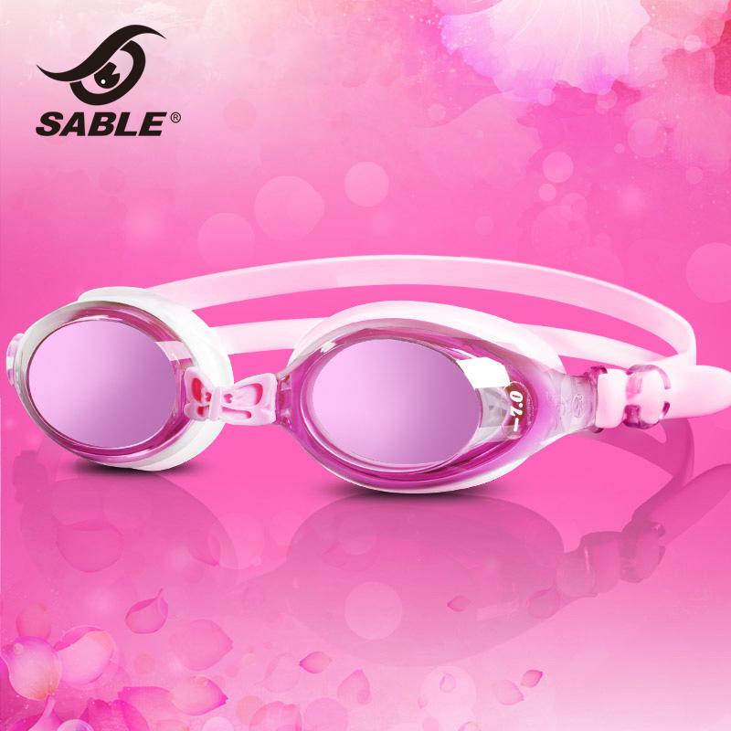 SABLE黑貂近视泳镜 女士高清防雾防水大框游泳镜有度数的游泳眼镜