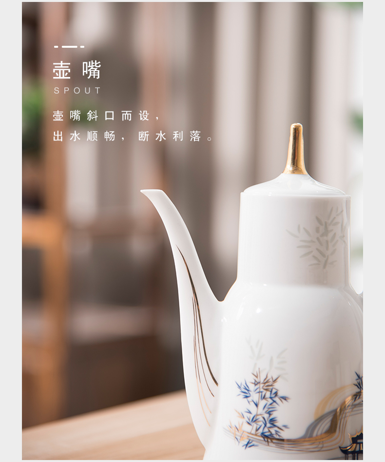 Jade BaiLingLong glaze color in wine wine 9 woolly heating jingdezhen porcelain wine wine handicraftsmen