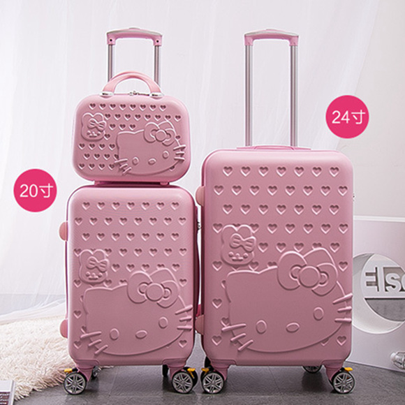 Runtongshanghang Small Fresh Macaron Pattern Luggage Female Korean Version of College Students Trolley Case Universal Wheel Password Suitcase 20 Inch Color : White