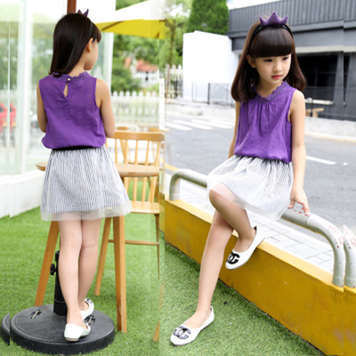 6 summer 9 girls short sleeve T-shirt short skirt suit 7 little girl 8 children's clothing 10 clothes 11 summer 5-15 years old 12