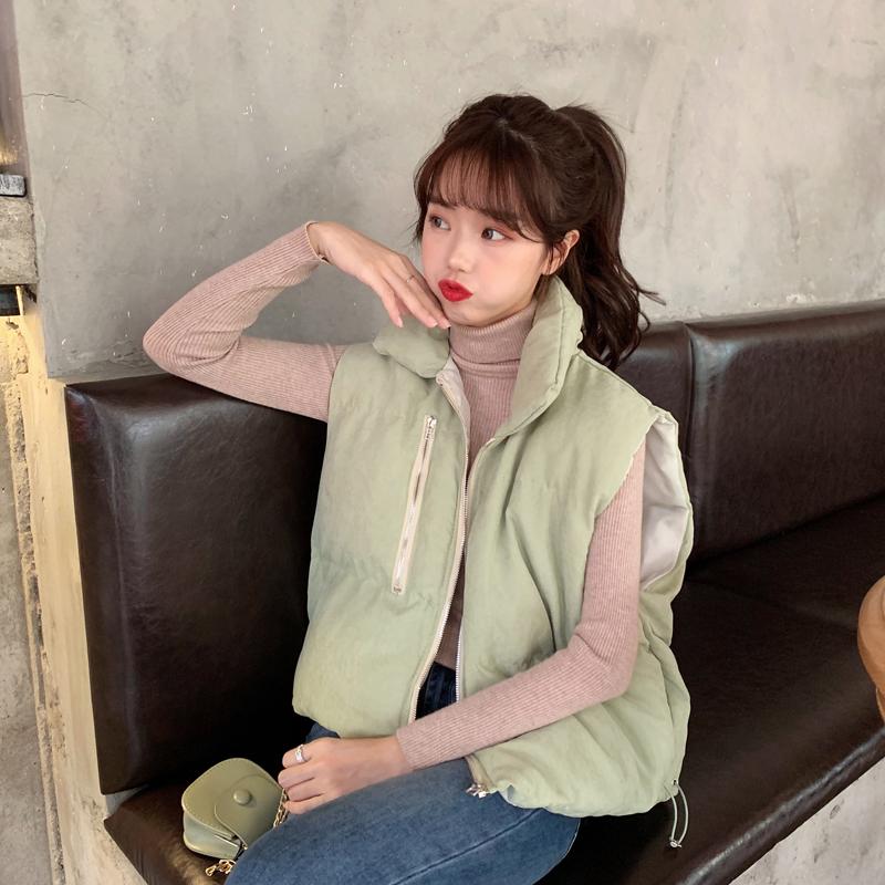 亚博娱乐平台入口实价韩版宽松无袖立领百搭加厚马甲纯色高领针织打底衫套装女