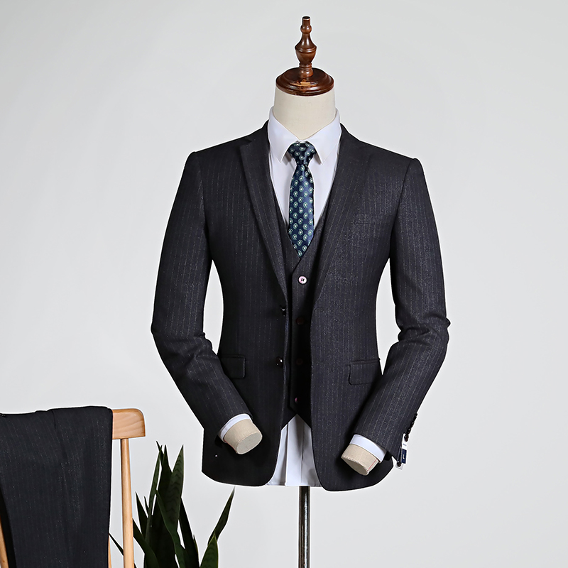 Gray Pinstripe/blue [top + Vest + Trousers]