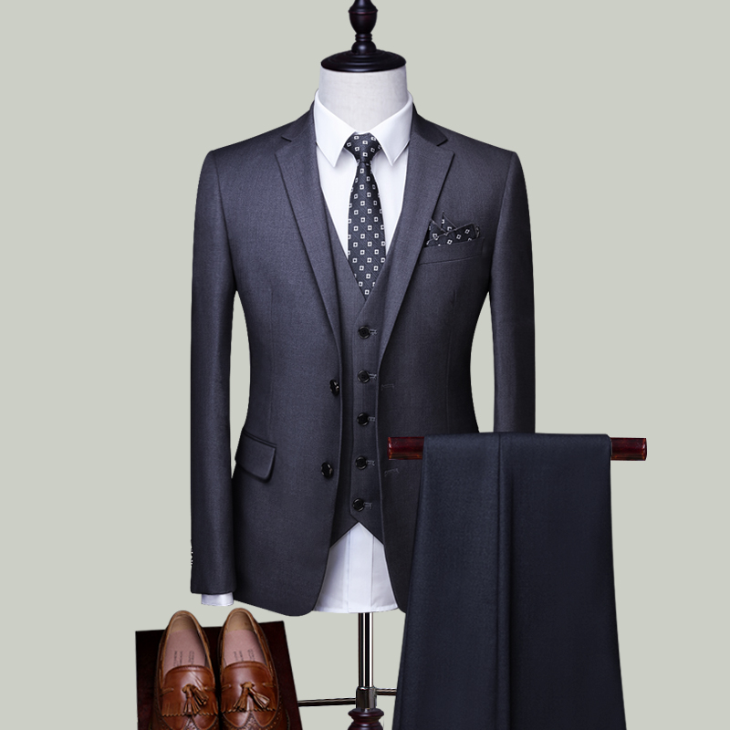 GREY DOUBLE BUCKLE THREE-PIECE SUIT (TOP + VEST + TROUSERS)
