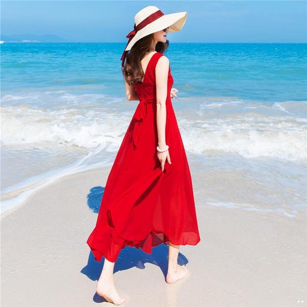 KTY10892#泰国巴厘岛沙滩裙女2020新款海南三亚海边度假雪纺红色连...