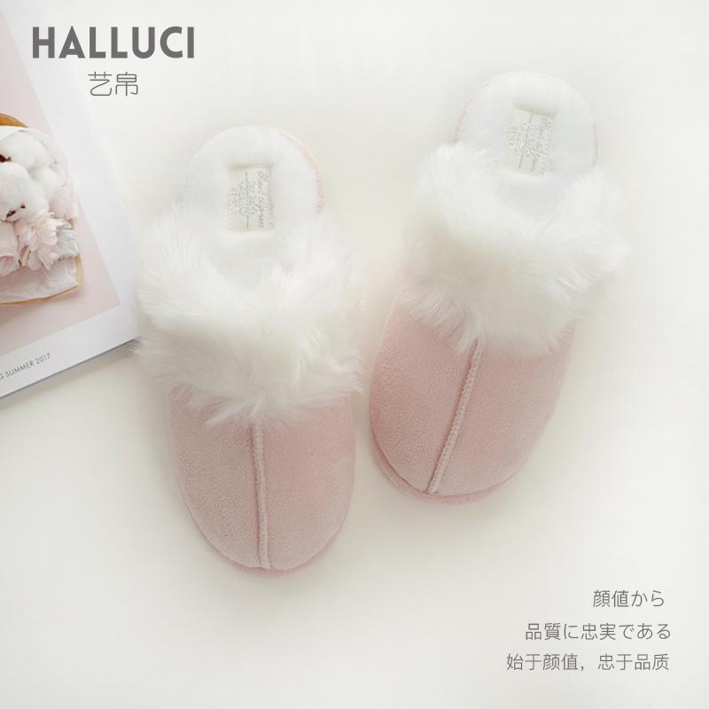 艺帛冬季韩版拖鞋厚底居家棉家用女冬天室内棉鞋a拖鞋毛绒可外穿