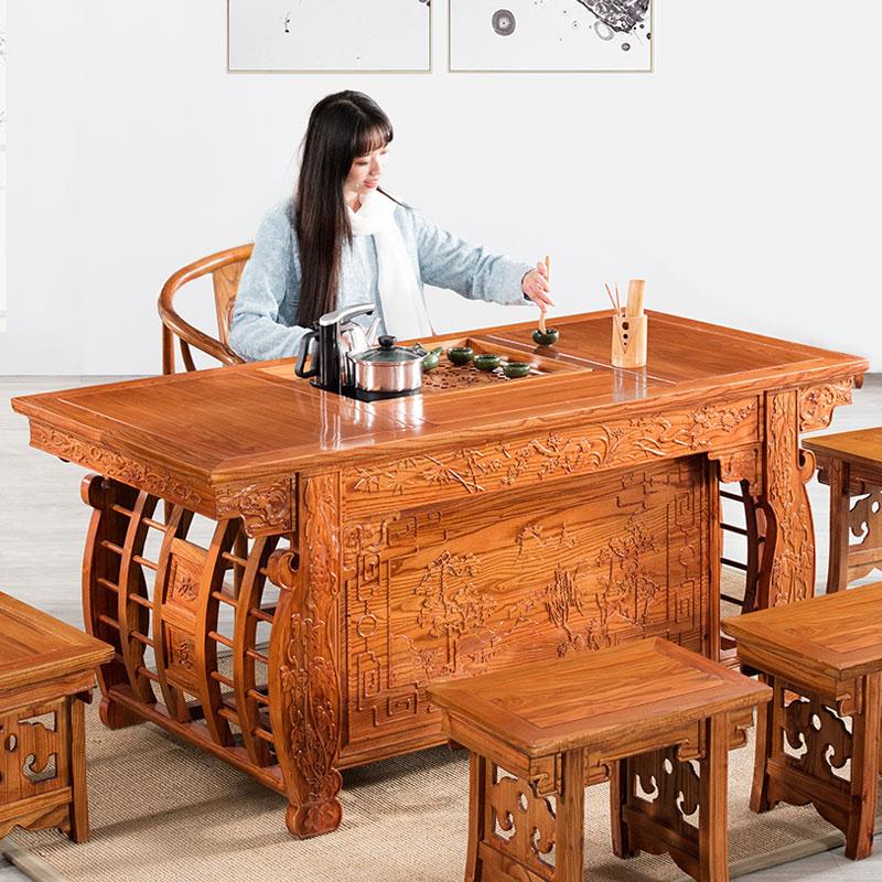 中式茶桌椅組合實木茶幾茶道桌子泡茶桌茶藝桌茶臺功夫茶桌桌椅子