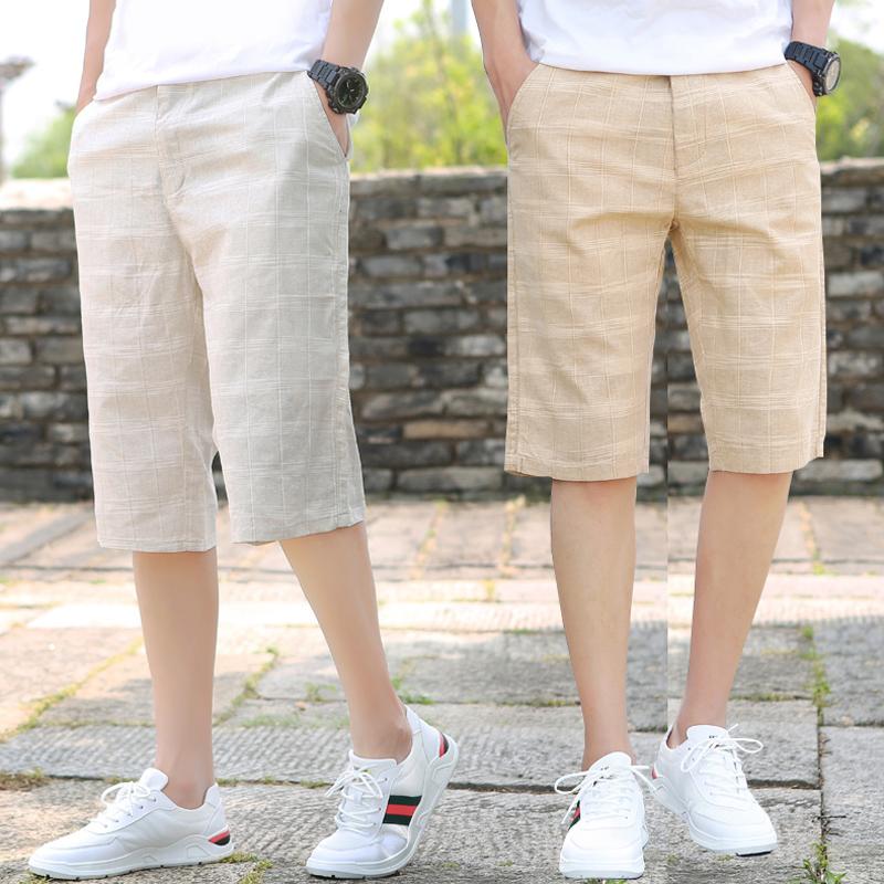 七分裤男夏季薄款格子五分裤棉麻男士男中裤v格子7分潮流直筒短裤5