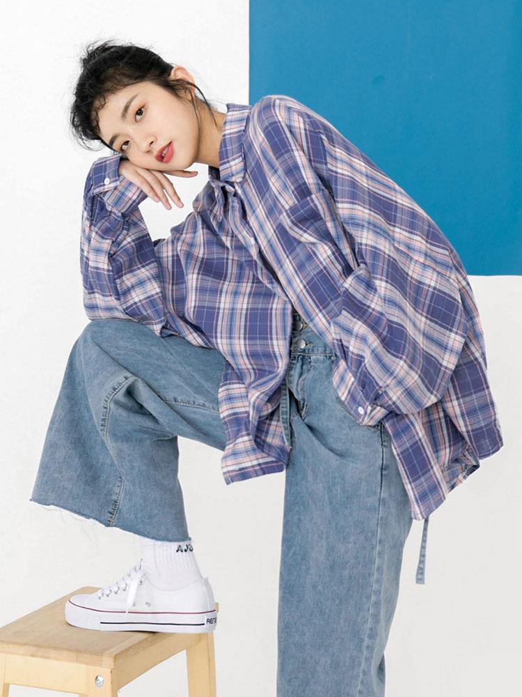 紫色格子衬衫女韩版中长款大版2020春季新款宽松衬衣复古港味外套