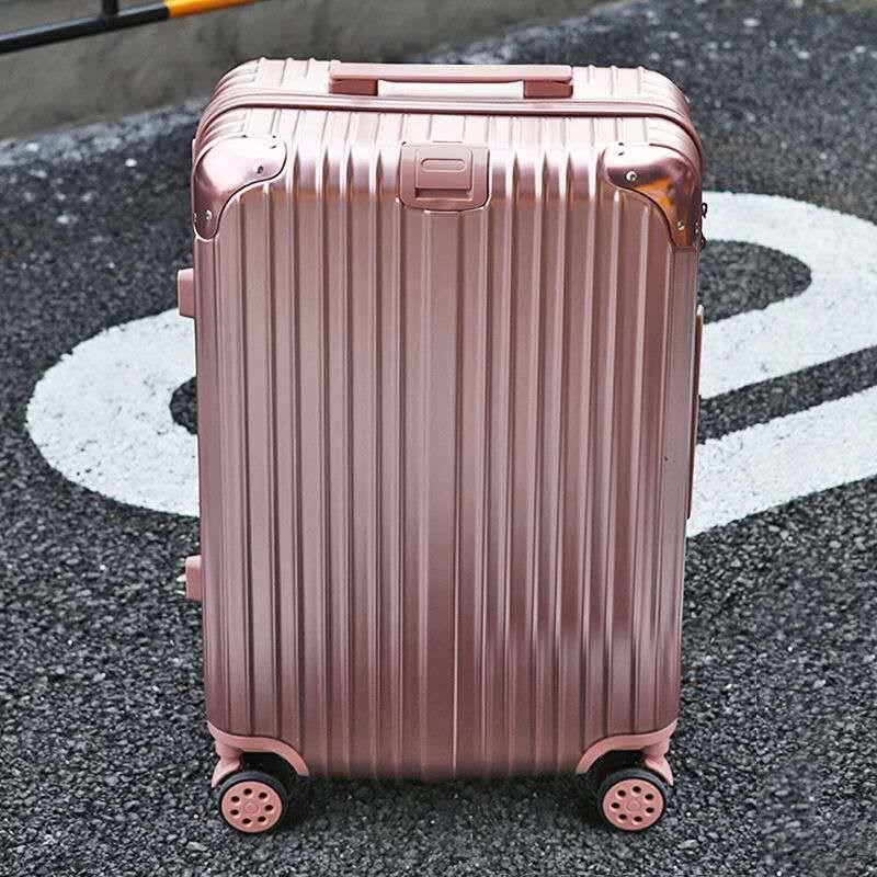 铝框行李箱女万向轮拉杆箱男密码箱旅行箱包学生皮箱登机箱子(铝框行李箱女万向轮拉杆箱登机箱子)