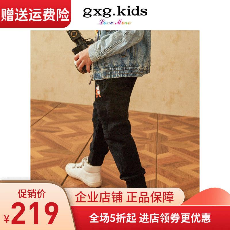 gxgkids黑色19春款男童卡通印花裤子童装v黑色长裤弹力KY102666102666A