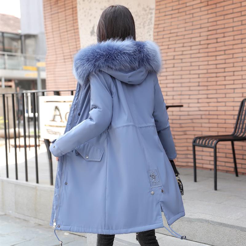 2019新款女装韩版显瘦修身加绒外套派克服大毛领中长款bf棉衣棉服