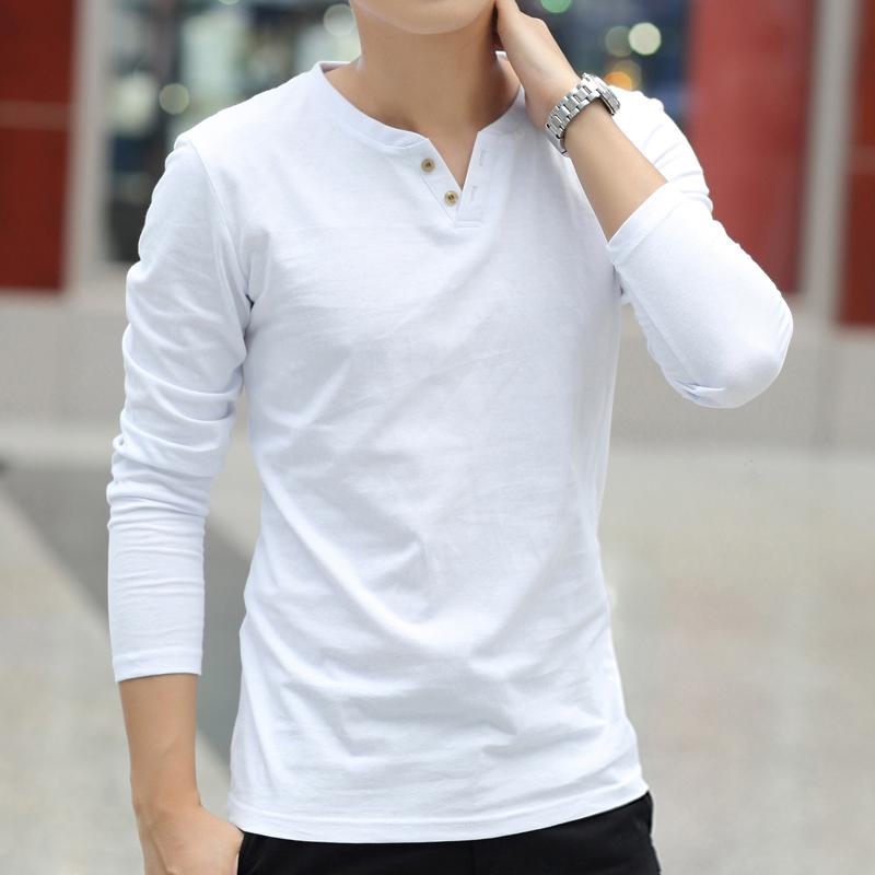 男士纯棉长袖t恤上衣服男装打底衫潮流韩版加绒秋衣潮牌夏季短袖
