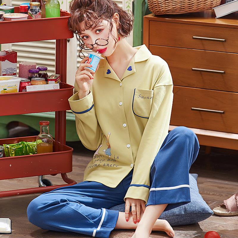 Card love pyjama mùa thu phụ nữ tay dài có thể được mặc bên ngoài mùa xuân và mùa thu cardigan cotton cô gái dễ thương bộ đồ dịch vụ ở nhà - Cha mẹ và con