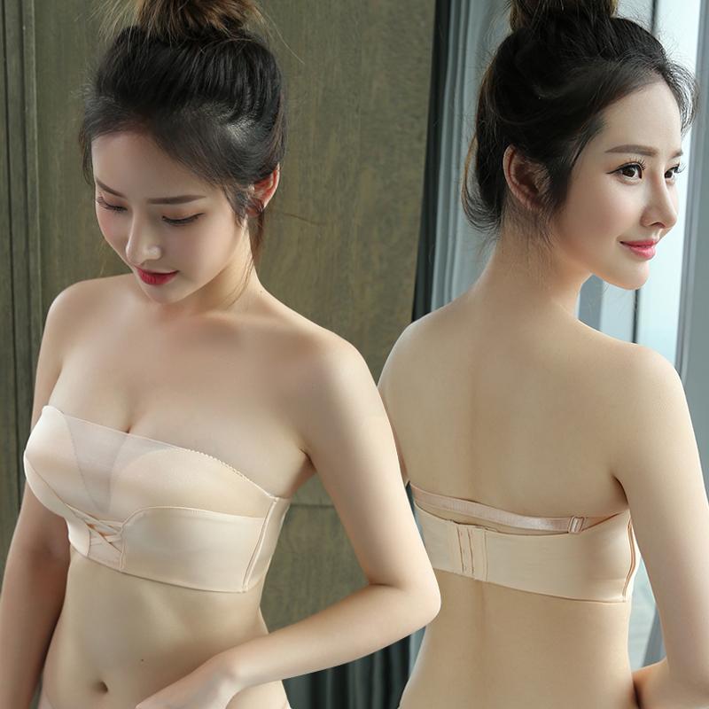 Strapless anti-going bọc ngực loại dày áo ngực nhỏ thu thập áo ngực áo ngực ống vô hình non-slip hỗ trợ trên đồ lót mùa hè