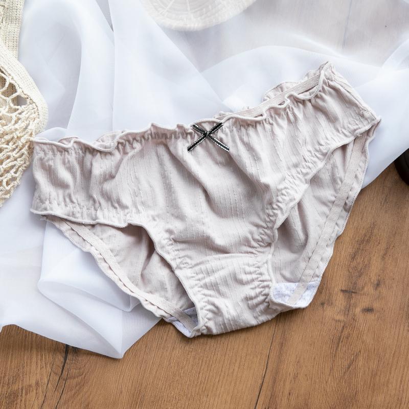 Đồ lót cotton nữ xuân hè, đũng cotton, giữa eo, quần đùi liền thân, nơ cô gái Nhật Bản, quần sịp thoáng khí - Tam giác