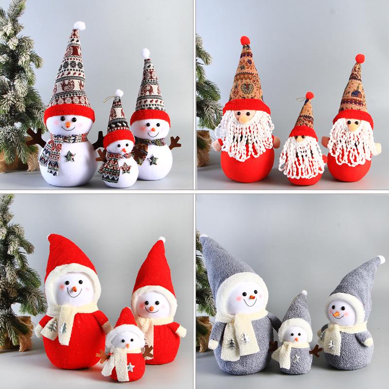 圣诞老人雪人摆件公仔橱窗圣诞娃娃森林布艺装饰摆件老人圣诞老人