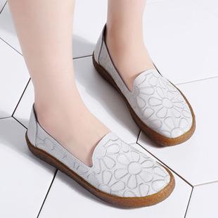 真皮繡花豆豆鞋女單鞋平底女鞋媽媽鞋春懶人鞋牛筋軟底大碼工作鞋