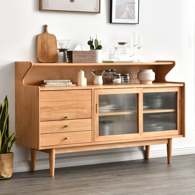 Living room Nordic solid wood side cabinet simple modern household small household Japanese tea cabinet kitchen combination locker