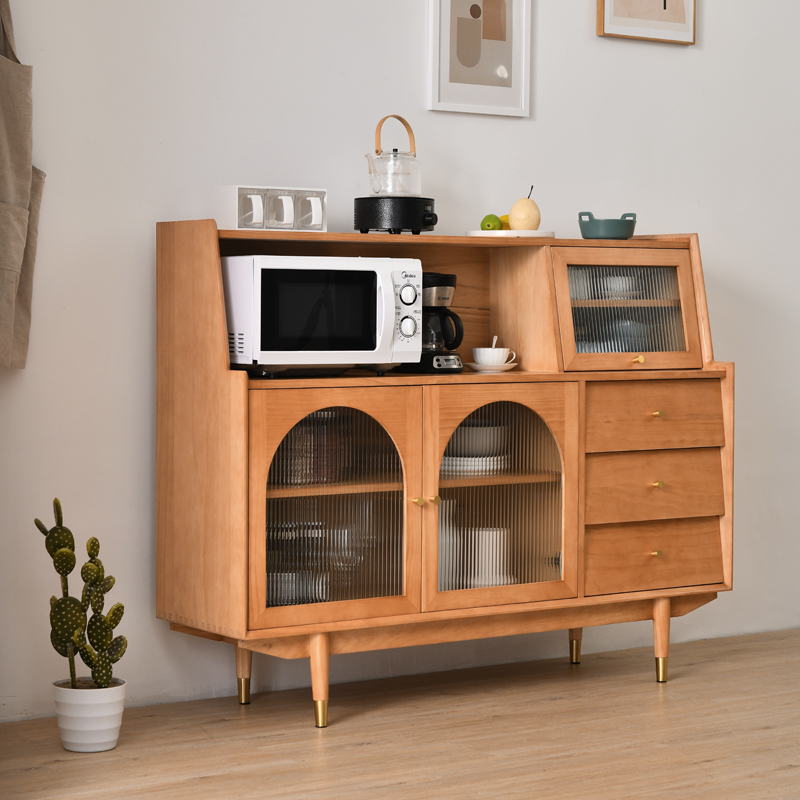 Modern minimalist tea cabinet Nordic small-family all-solid wood high-dining side cabinet Japanese-style home restaurant arch locker