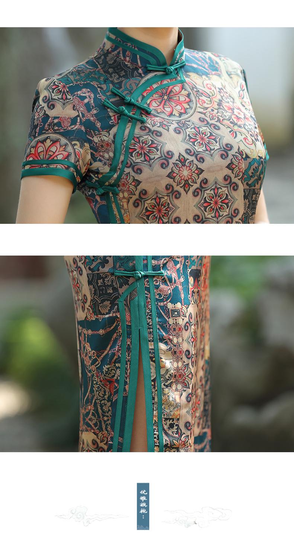 老上海旗袍新款春夏復古气质改良旗袍洋装长版日常修身显瘦详细照片