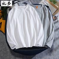 Рубашка мужской длинный рукав белый футболка чистый хлопок круглый воротник Ins хип-хоп модные молодежный рыхлый большой размер Сплошной цвет в стиле Гонконга