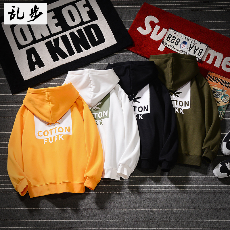 Korean version of the trend print hip-hop wear men's 2020 new hooded shoulder-length dress autumn and winter with cap t-shirt