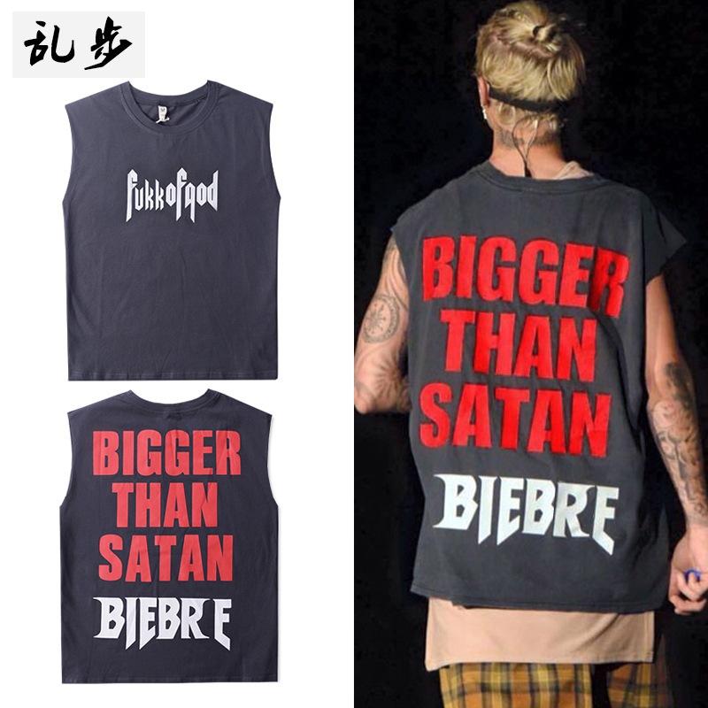 Summer tide large size OVERSIZE loose waist Sleeveless Vest male Biber with the same paragraph beach sports Harajuku vest