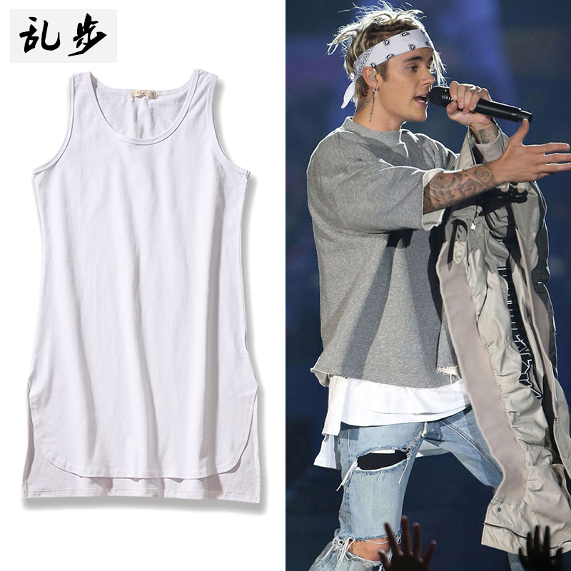 Europe and the United States wind high street KANYE Bieber Tide brand in the long version of the cotton vest men before the short after the long split solid color inside the dress