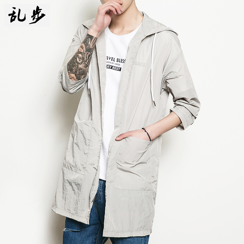 Summer new solid color in the long version of the sunscreen men couple cloak cardigan skin clothes handsome thin coat coat