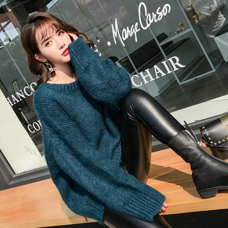 韩版2017秋冬新款宽松套头长袖圆领中长款显白翡翠绿马海毛毛衣女