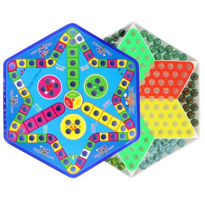 跳跳棋 儿童 益智成人大号塑料80后跳棋玻璃珠弹珠飞行棋老式