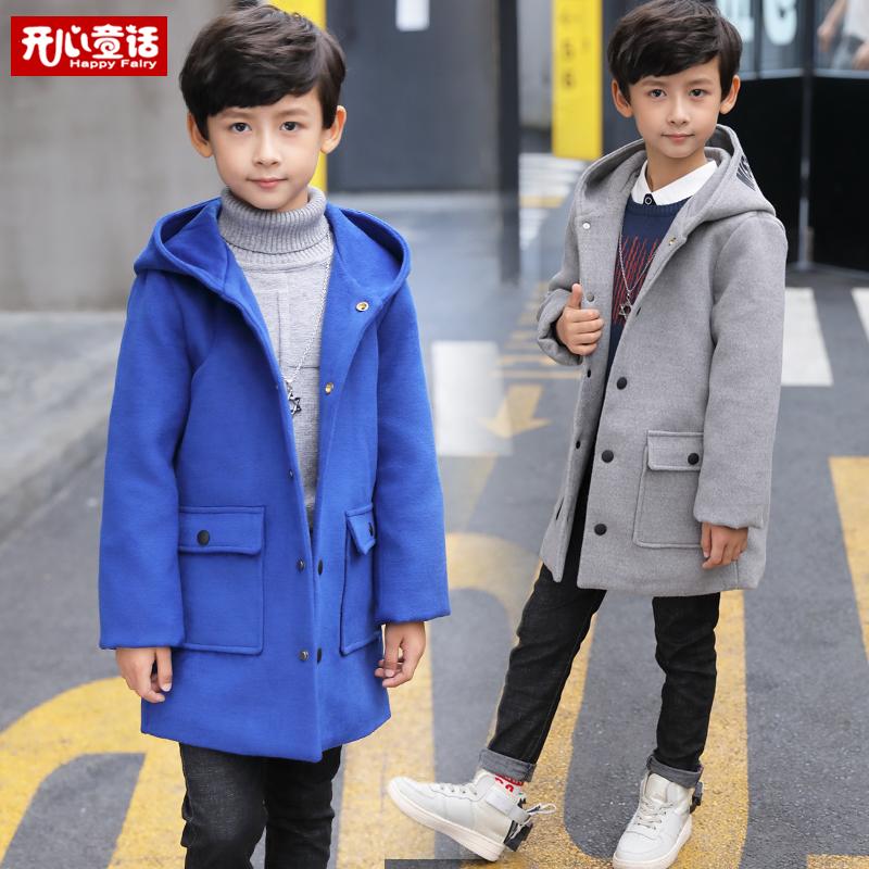 Ребятишки мальчиков шерстяные пиджак 2018 весна в новый заправила длина ветровка мальчик пиджак плюс хлопок корейский