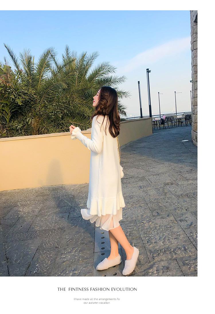 年早春新款米白色针织洋装女春秋打底内搭中长版毛衣裙春季详细照片