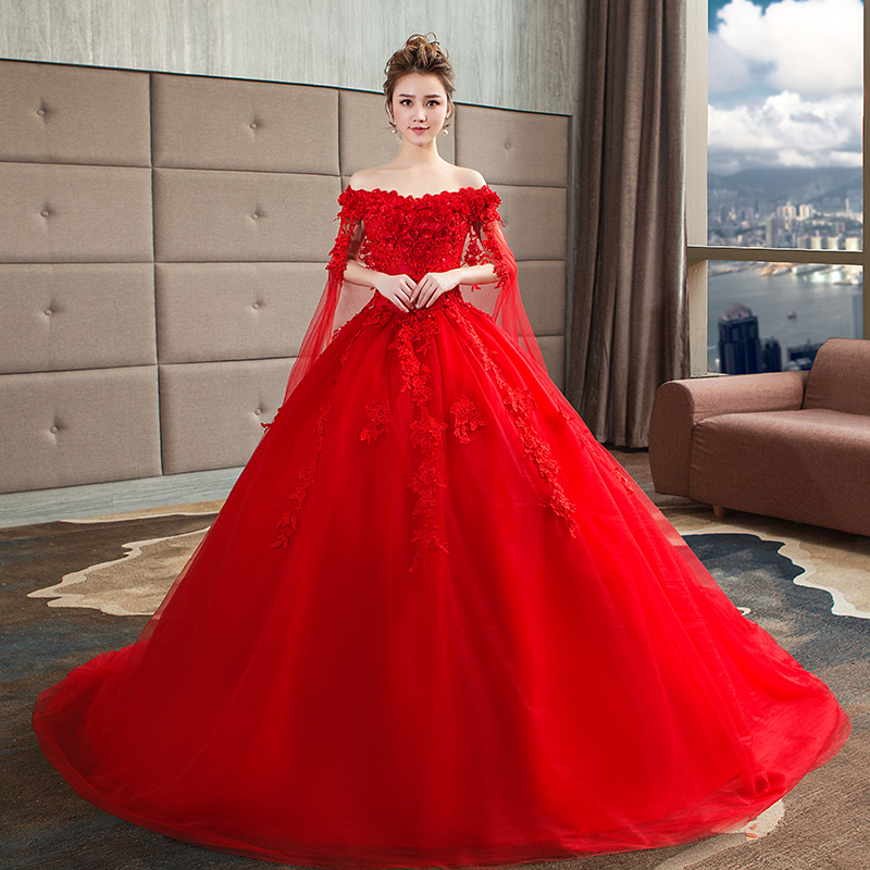 41dc4e03a01 Usd 226 09 Red Wedding Dress New 2018 Winter Lace Long Trailing One