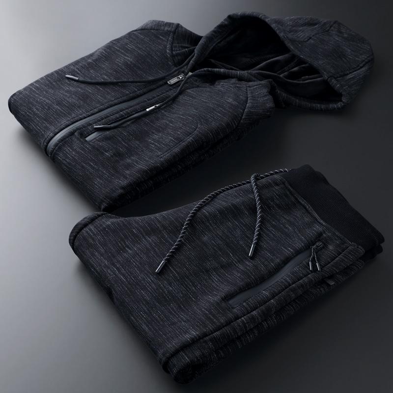 运动服装春秋运动套装男士两件套秋季休闲卫衣中年纯棉冬加绒加厚