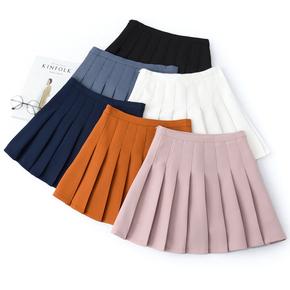 日系学院高腰百褶半身裙