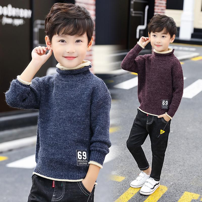 儿童装男童毛衣套头秋冬款2018新款中大童加绒加厚高领线衣针织衫
